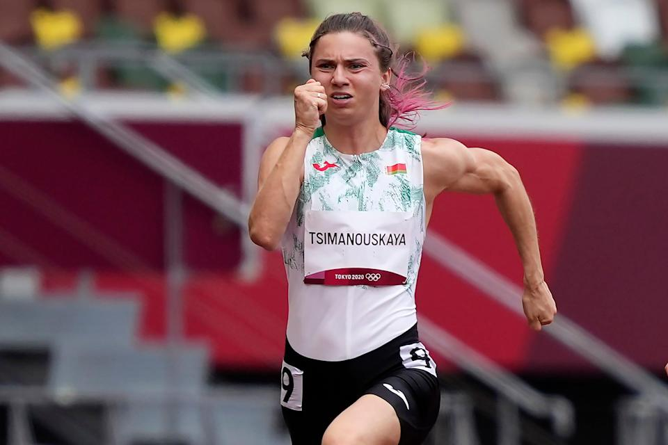 Krystsina Tsimanouskaya, of Belarus, alleged her Olympic team tried to remove her from Japan in a dispute that led to a standoff at Tokyo's main airport.