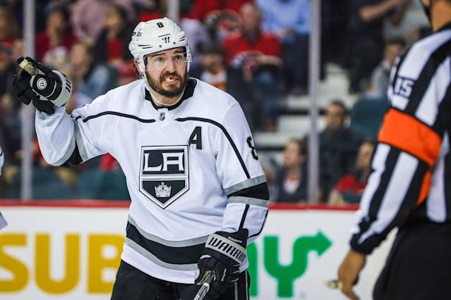 Drew Doughty is vowing that the Kings will be better in 2019-20 after he felt like they let the organization down amid a struggling campaign. (Sergei Belski-USA TODAY Sports)