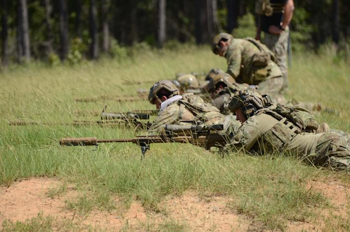 Special Operations Snipers zero their MK-22 Precision Sniper Rifles (PSR) before military free fall test trials on Range 61, Fort Bragg, North Carolina