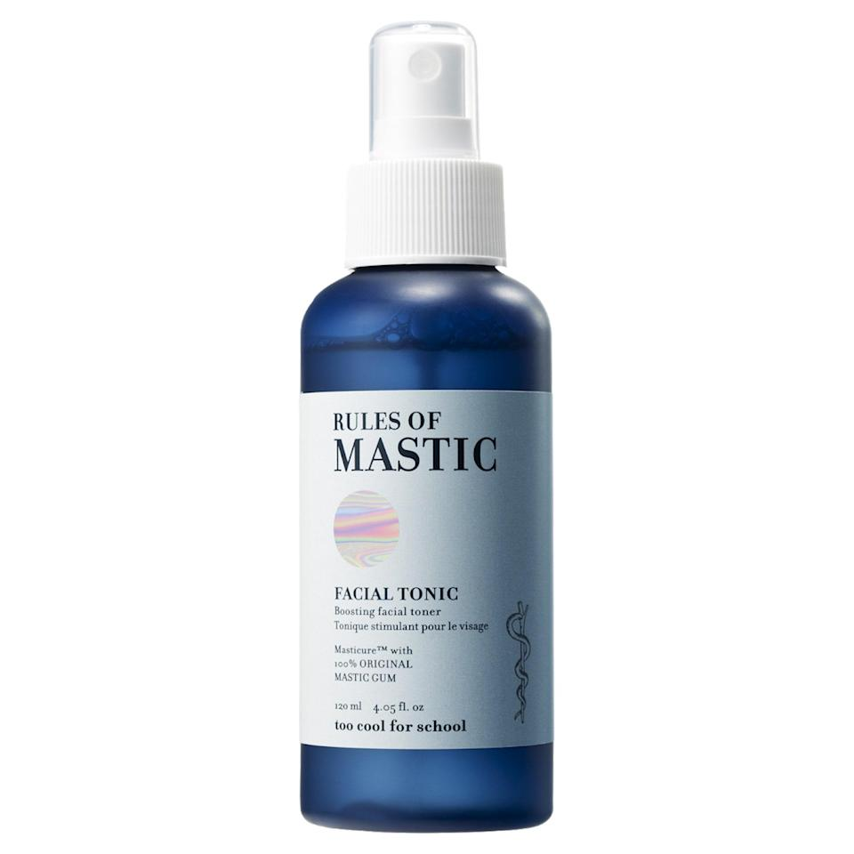 """<p>As the only mist on this list, Too Cool For School Rules of Mastic Facial Tonic doubles as a toner and hydrating spray you can use in the morning and then throughout the day. It <a href=""""https://www.allure.com/story/what-are-ceramides?mbid=synd_yahoo_rss"""" rel=""""nofollow noopener"""" target=""""_blank"""" data-ylk=""""slk:contains ceramides"""" class=""""link rapid-noclick-resp"""">contains ceramides</a> and mastic oil, which strengthens the skin's resiliency and helps heal damaged skin. We'll definitely be using this more than once a day.</p> <p><strong>$14</strong> (<a href=""""https://shop-links.co/1698347367209550517"""" rel=""""nofollow noopener"""" target=""""_blank"""" data-ylk=""""slk:Shop Now"""" class=""""link rapid-noclick-resp"""">Shop Now</a>)</p>"""