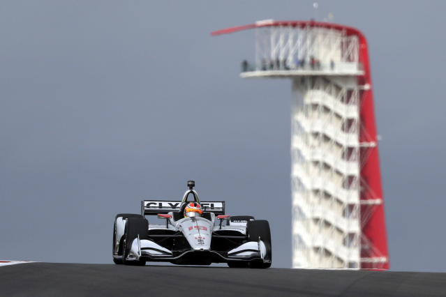 FILE - In this March 23, 2019, file photo, Santino Ferrucci drives during an open practice session for the IndyCar Classic auto race in Austin, Texas. After a recent string of strong finishes in IndyCar, Ferrucci is showing off the driving skill that was never really in doubt. (AP Photo/Eric Gay, File)