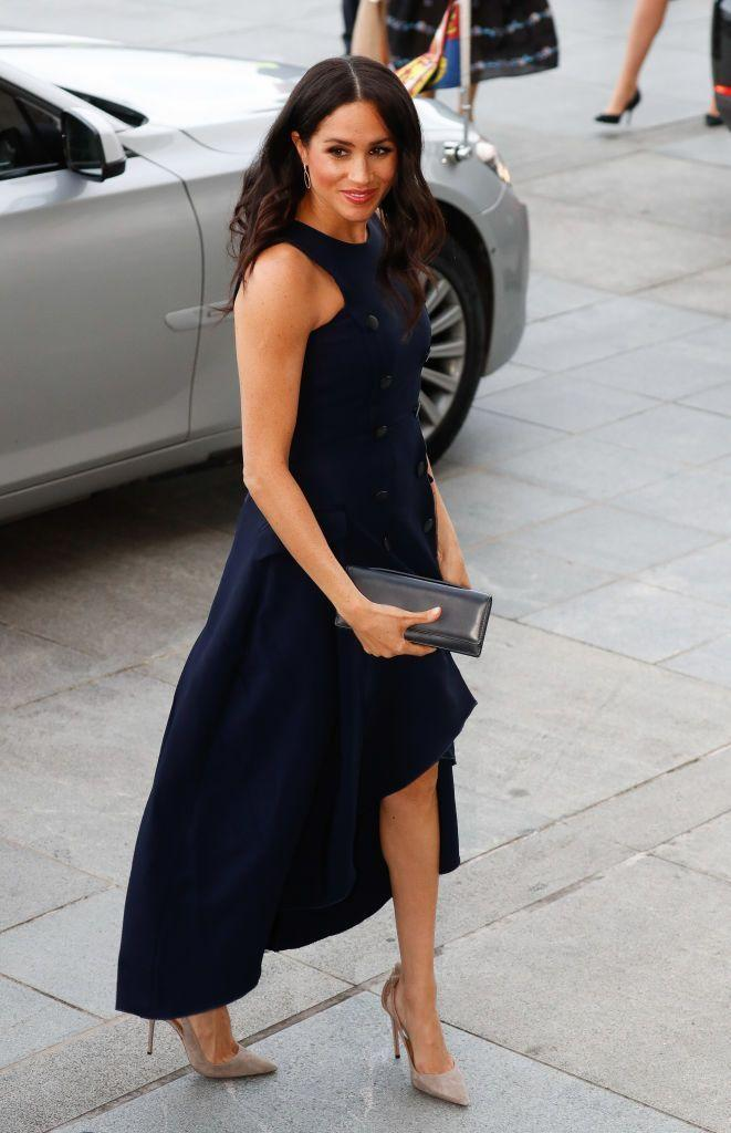 "<p>The Duchess of Sussex <a href=""https://www.townandcountrymag.com/style/fashion-trends/a24433503/meghan-markle-recycle-antonio-berardi-dress-new-zealand-royal-tour/"" rel=""nofollow noopener"" target=""_blank"" data-ylk=""slk:wore a navy dress by Antonio Berardi"" class=""link rapid-noclick-resp"">wore a navy dress by Antonio Berardi</a> for a reception held at the Auckland War Memorial Museum. She paired the dress with <a href=""https://www.mytheresa.com/en-us/aquazzura-deneuve-105-suede-pumps-1025352.html"" rel=""nofollow noopener"" target=""_blank"" data-ylk=""slk:suede pumps by Aquazzura"" class=""link rapid-noclick-resp"">suede pumps by Aquazzura</a>.</p><p><a class=""link rapid-noclick-resp"" href=""https://go.redirectingat.com?id=74968X1596630&url=https%3A%2F%2Fwww.mytheresa.com%2Fen-us%2Faquazzura-deneuve-105-suede-pumps-1025352.html&sref=https%3A%2F%2Fwww.townandcountrymag.com%2Fstyle%2Ffashion-trends%2Fg3272%2Fmeghan-markle-preppy-style%2F"" rel=""nofollow noopener"" target=""_blank"" data-ylk=""slk:SHOP NOW"">SHOP NOW</a> <em>Aquazzura Deneuve Pumps, $588</em></p>"