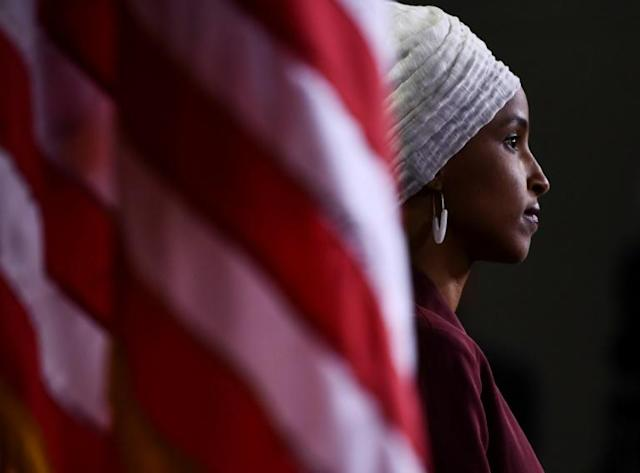 Representative Ilhan Omar, a Democrat from Minnesota, at a press conference, to address remarks made by US President Donald Trump (AFP Photo/Brendan Smialowski)
