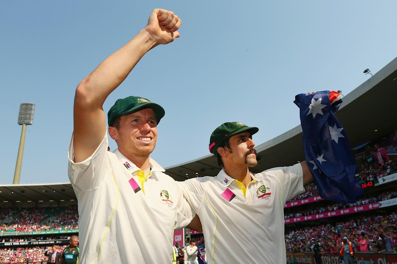 SYDNEY, AUSTRALIA - JANUARY 05:  Peter Siddle and Mitchell Johnson of Australia celebrate winning the Ashes series 5-0 during day three of the Fifth Ashes Test match between Australia and England at Sydney Cricket Ground on January 5, 2014 in Sydney, Australia.  (Photo by Cameron Spencer/Getty Images)