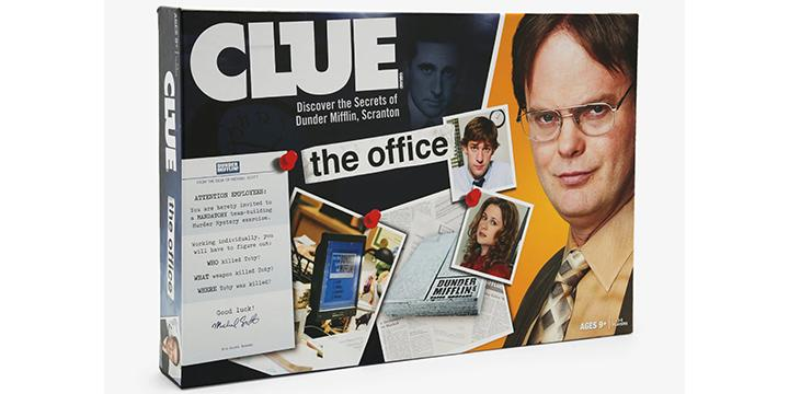 The game of Clue: The Office Edition asks the ultimate question: Who killed Toby Flenderson? (Credit: Hot Topic)