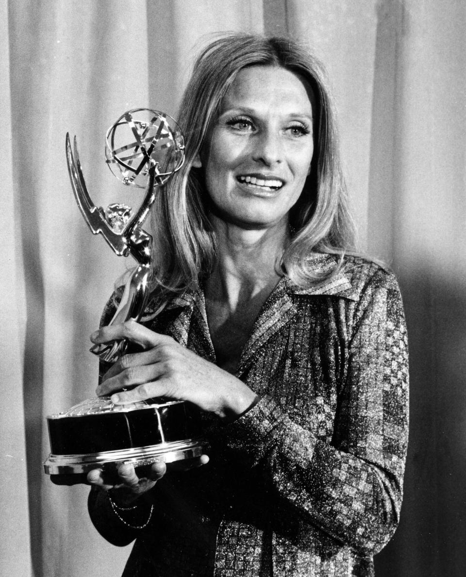 "FILE - Cloris Leachman poses with her Emmy award for outstanding single performance by an actress in ""A Brand New Life"" at the primetime television Emmy Awards presentation in Los Angeles on May 21, 1975. Leachman, a character actor whose depth of talent brought her an Oscar for the ""The Last Picture Show"" and Emmys for her comedic work in ""The Mary Tyler Moore Show"" and other TV series, has died. She was 94. (AP Photo, File)"