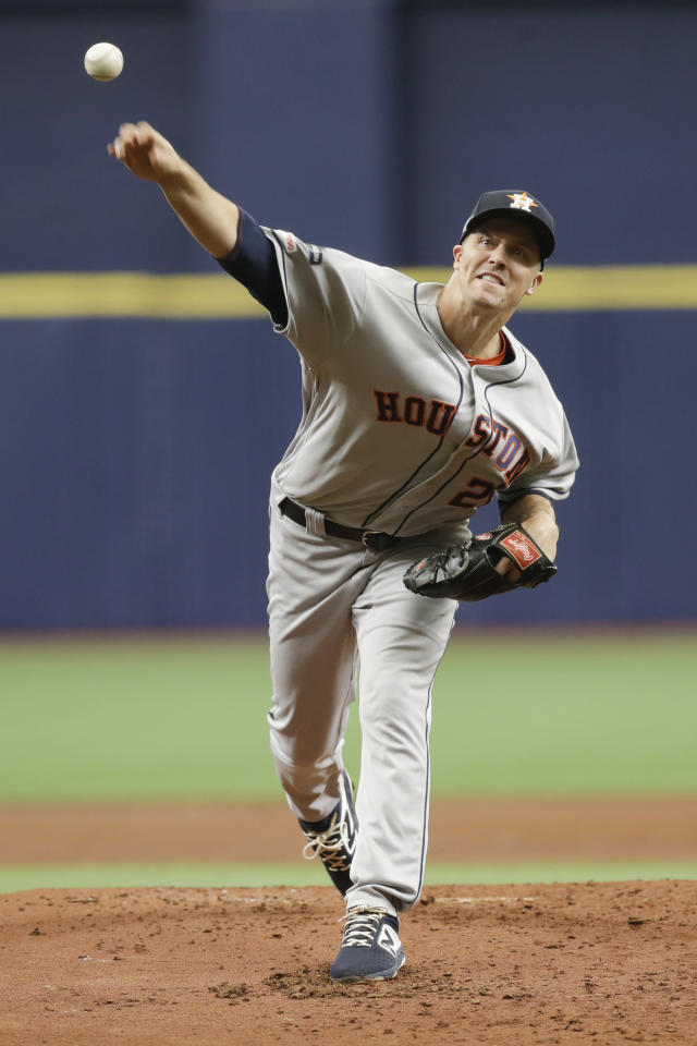 Houston Astros starting pitcher Zack Greinke throws during the first inning of Game 3 of a baseball American League Division Series against the Tampa Bay Rays, Monday, Oct. 7, 2019, in St. Petersburg, Fla. (AP Photo/Chris O'Meara, Pool)