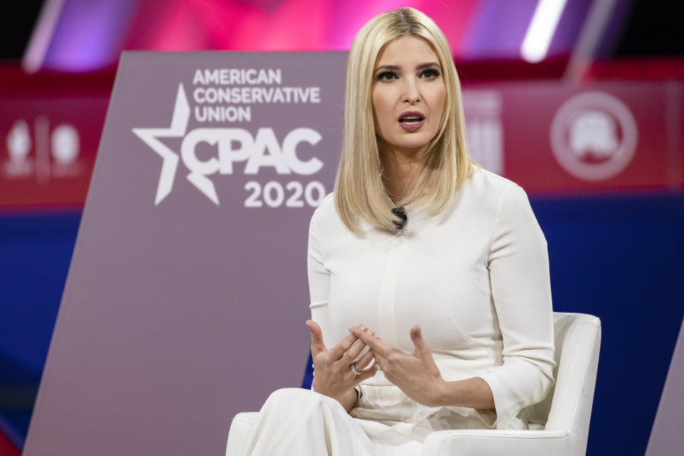 Ivanka Trump, daughter of and Senior Advisor to U.S. President Donald Trump, speaks at the Conservative Political Action Conference 2020 (CPAC) hosted by the American Conservative Union on February 28, 2020 in National Harbor, MD.
