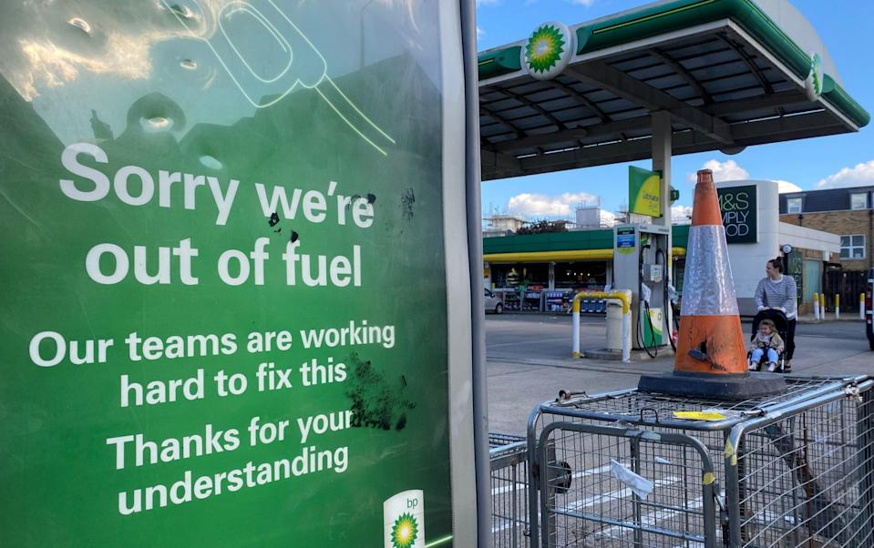 A BP petrol station that has run out of fuel is seen in south London - Toby Melville/Reuters
