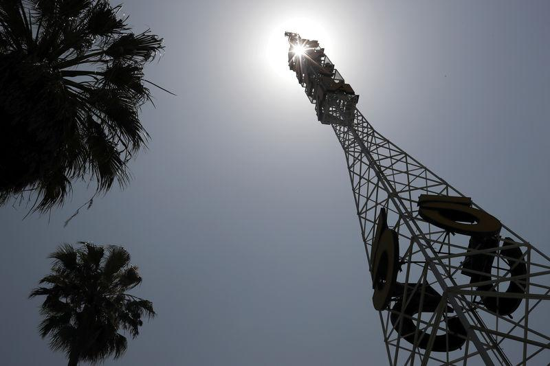 FILE PHOTO: The tower of Tribune Broadcasting Los Angeles affiliate KTLA 5 is seen in Hollywood, Los Angeles