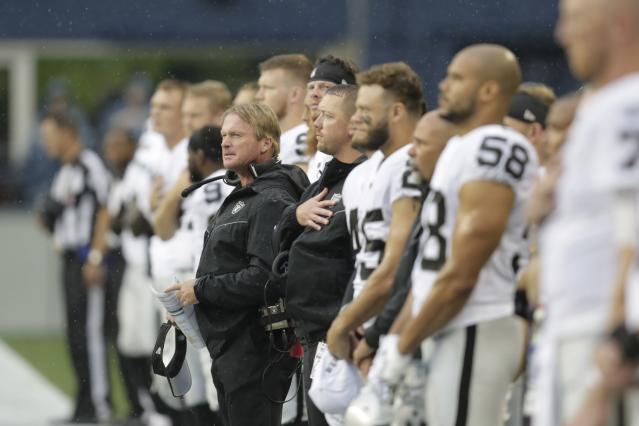 Jon Gruden (center) might have an accountability problem with his locker room after the Antonio Brown saga. (AP)