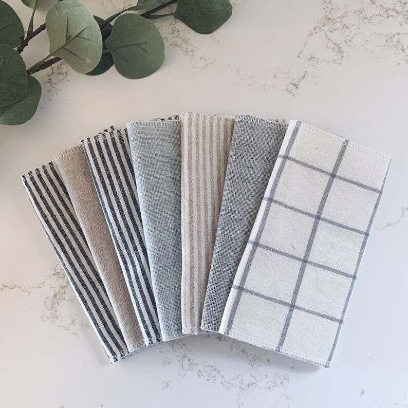 """They work just as well to clean your hands as they do to wipe up that glass of wine you spilled on """"Bachelor"""" night.<br /><strong><br />Promising review:</strong>""""I love the charcoal gray towels I got so much I just ordered another set.<strong>I'm finding more and more ways to use them, instead of paper, every day: under draining fruits and vegetables, in the refrigerator where our freezer leaks, under my tea pot and compost container, at the master bath sink to wipe up after brushing our teeth and one has been designated as the 'water on the floor' towel.</strong>We have definitely cut down on our paper towel use."""" —<a href=""""https://go.skimresources.com?id=38395X987171&xs=1&xcust=HPTransformKitchenBoan6065e94ac5b623e39bdf7c97&url=https%3A%2F%2Fwww.etsy.com%2Flisting%2F903576221%2F3ply-linen-paperless-towel-reusable"""" target=""""_blank"""" rel=""""nofollow noopener noreferrer"""" data-skimlinks-tracking=""""5892474"""" data-vars-affiliate=""""AWIN"""" data-vars-campaign=""""SHOPTransformKitchenBoan3-11-21--5892474"""" data-vars-href=""""https://www.awin1.com/cread.php?awinmid=6220&awinaffid=304459&clickref=SHOPTransformKitchenBoan3-11-21--5892474&ued=https%3A%2F%2Fwww.etsy.com%2Flisting%2F903576221%2F3ply-linen-paperless-towel-reusable"""" data-vars-keywords=""""cleaning"""" data-vars-link-id=""""16507909"""" data-vars-price="""""""" data-vars-product-id=""""21030820"""" data-vars-product-img=""""https://i.etsystatic.com/6668408/r/il/703d65/2138194407/il_1588xN.2138194407_crng.jpg"""" data-vars-product-title=""""3ply Linen Paperless Towel, Reusable Paper Towel, Eco-Friendly Kitchen Gift, Zero Waste Paper Replacement, Useful Stocking Stuffer for Mom"""" data-vars-retailers=""""etsy"""" data-ml-dynamic=""""true"""" data-ml-dynamic-type=""""sl"""" data-orig-url=""""https://www.awin1.com/cread.php?awinmid=6220&awinaffid=304459&clickref=SHOPTransformKitchenBoan3-11-21--5892474&ued=https%3A%2F%2Fwww.etsy.com%2Flisting%2F903576221%2F3ply-linen-paperless-towel-reusable"""" data-ml-id=""""5"""">katerhoad1</a><br /><br />HammerThreadHandmade is a family-owned Etsy shop based i"""