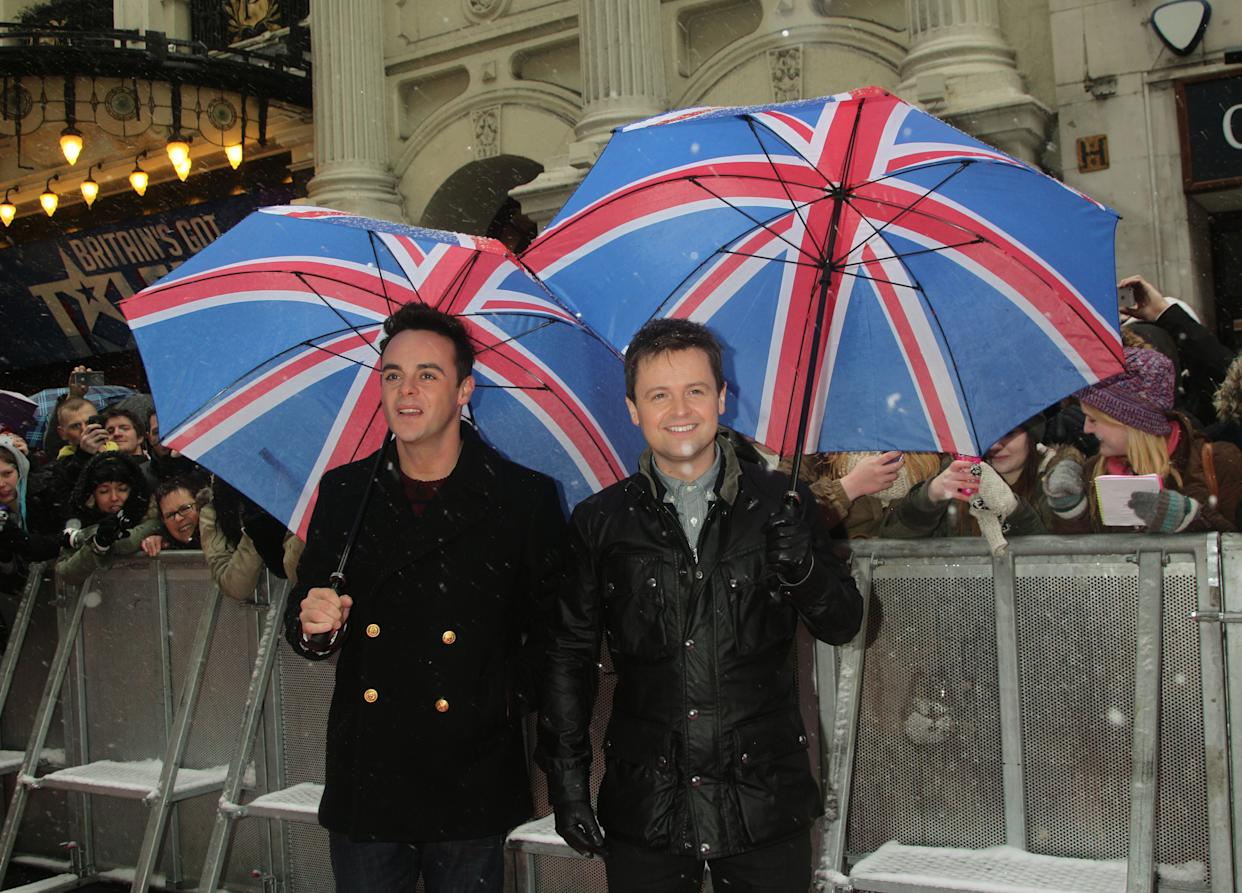 Ant (left) & Dec arriving for Britain's Got Talent 2013 Judges Auditions Tour, at The London Palladium in central London.   (Photo by Yui Mok/PA Images via Getty Images)
