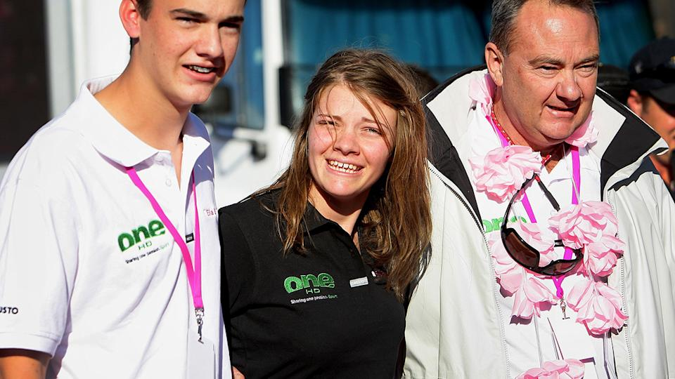 Jessica Watson, pictured here with her family after completing her round-the-world journey in 2010.