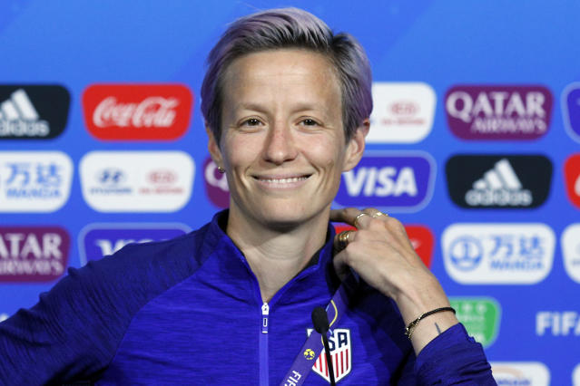 Megan Rapinoe used the scope of this moment, the eve of the Women's World Cup final, as a bullhorn for her criticism of FIFA. (Associated Press)