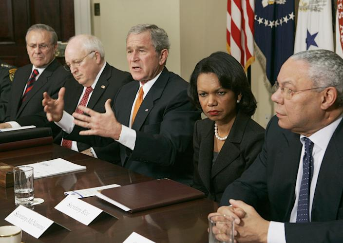 President Bush, center, meets Thursday, Jan. 5, 2006, with present and former Secretaries of State and Defense in the Roosevelt Room at the White House. From left to right are Secretary of Defense Donald H. Rumsfeld, Vice President Dick Cheney, Bush, Secretary of State Condoleezza Rice, and former Secretary of State Colin Powell. (AP Photo/Evan Vucci)