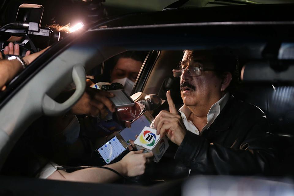 Manuel Zelaya former President of Honduras speaks to the media after been held and later released by authorities at Toncontin International Airport on 27 November 2020 in Tegucigalpa, Honduras (Milo Espinoza/Getty Images)