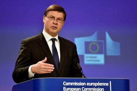 EC Vice-President for the Euro and Social Dialogue Dombrovskis holds a news conference at the European Commission in Brussels