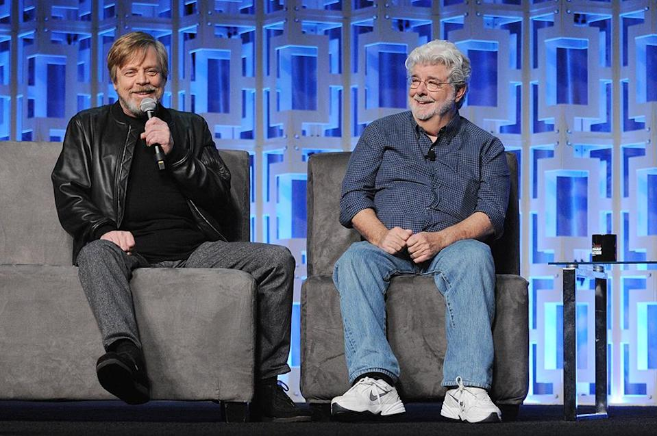 <p>Mark Hamill and George Lucas (Photo: Gerardo Mora/Getty Images) </p>