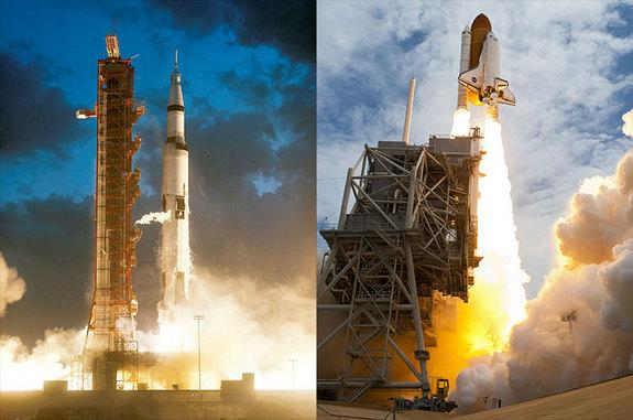 First and last launches, for now: The Apollo 4 Saturn V liftoff (left) and STS-135 space shuttle launch were the first and last to leave Launch Pad 39A in 1967 and 2011, respectively.