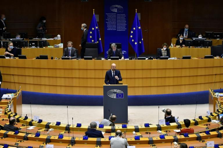 European Council President Charles Michel addressed European lawmakers during a plenary session on the inauguration of the new President of the United States and the current political situation