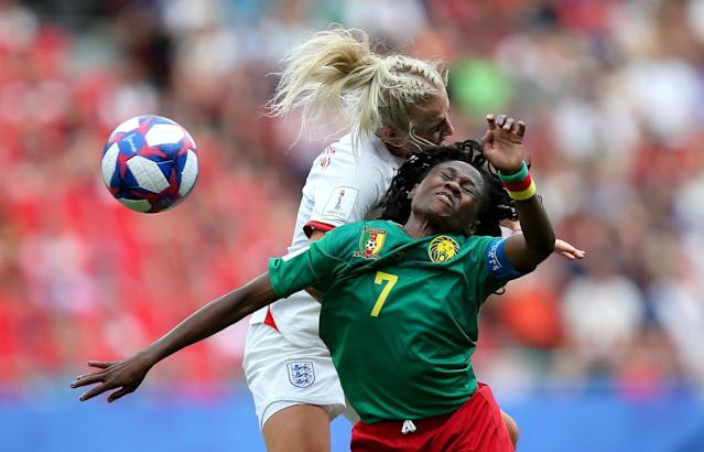 Alex Greenwood of England battles for possession with Gabrielle Aboudi Onguene of Cameroon during the 2019 FIFA Women's World Cup France Round Of 16 match between England and Cameroon at Stade du Hainaut on June 23, 2019 in Valenciennes, France. (Photo by Cathrin Mueller - FIFA/FIFA via Getty Images)