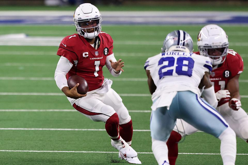 This season Arizona's Kyler Murray leads all NFL QBs in rushing yards and attempts. (Photo by Ronald Martinez/Getty Images)