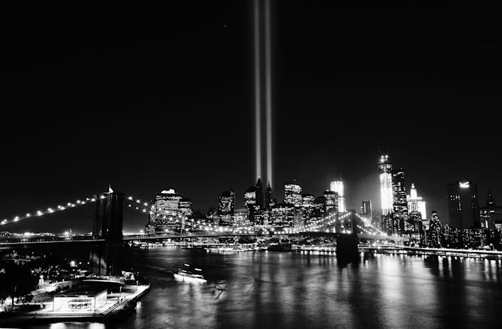 The Tribute in Light, an art installation of twin beams to represent the World Trade Center, lights up lower Manhattan in New York.