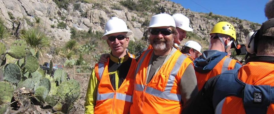 Jeff Bezos checks on the progress of his massive clock project in the Sierra Diablo mountains in West Texas.