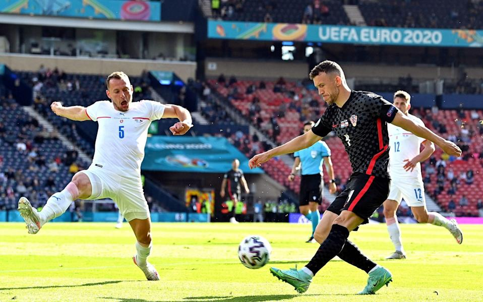 Ivan Perisic (R) of Croatia in action against Vladimir Coufal (L) of the Czech Republic during the UEFA EURO 2020 group D preliminary round soccer match between Croatia and the Czech Republic in Glasgow, Britain, 18 June 2021. Group D Croatia vs Czech Republic, Glasgow, United Kingdom - Paul Ellis/POOL/EPA-EFE/Shutterstock