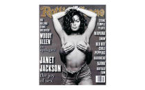 <p>The now-famous magazine cover of Janet Jackson was featured on her <em>Janet</em> album cover but when the publication was released, the full nude photograph drew controversy. <em>[Photo: Rolling Stone]</em> </p>