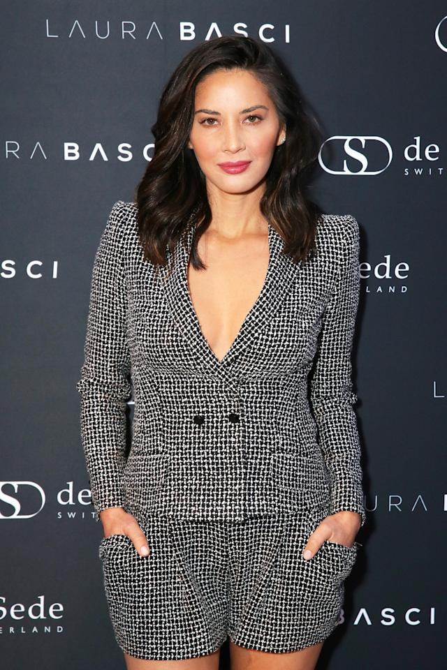 <p>Munn made boss moves in this modern take on a business suit at the Laura Basci and de Sede Los Angeles showroom opening. Her voluminous, shoulder-length hair added the perfect touch. (Photo: Rebecca Sapp/Getty Images) </p>
