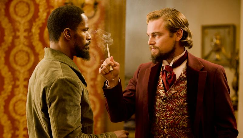 Jamie Foxx and Leonardo DiCaprio in Django Unchained.