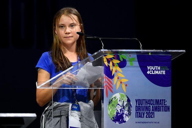 MICO, MILAN, ITALY - 2021/09/28: Greta Thunberg speaks during opening plenary session of the Youth4Climate pre-COP26 event. The 2021 United Nations Climate Change Conference, also known as COP26, is scheduled to be held in the city of Glasgow, Scotland between 31 October and 12 November 2021. (Photo by Nicolò Campo/LightRocket via Getty Images) (Photo: Nicolò Campo via Getty Images)