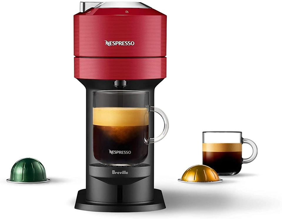 """<h3>Breville Nespresso Vertuo Next Coffee and Espresso Machine</h3><br>Upgrade your morning cup of coffee with this high-tech coffee maker in a metallic shade of cherry red.<br><br><strong>Breville</strong> Nespresso Vertuo Next Coffee and Espresso Machine, $, available at <a href=""""https://amzn.to/3spiwUM"""" rel=""""nofollow noopener"""" target=""""_blank"""" data-ylk=""""slk:Amazon"""" class=""""link rapid-noclick-resp"""">Amazon</a>"""