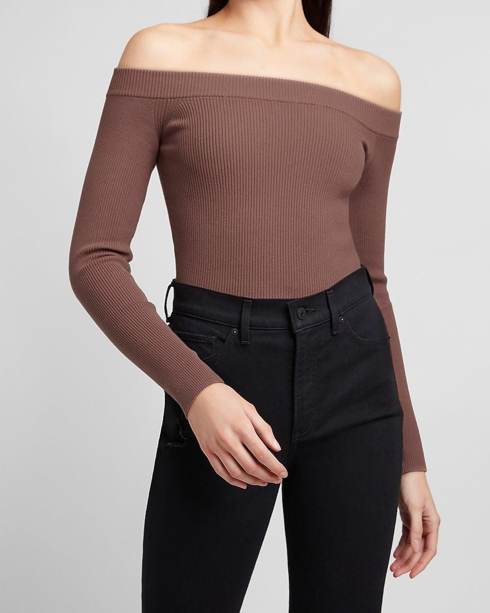 <p>We love the silhouette of this <span>Fitted Ribbed Off The Shoulder Sweater</span> ($64).</p>