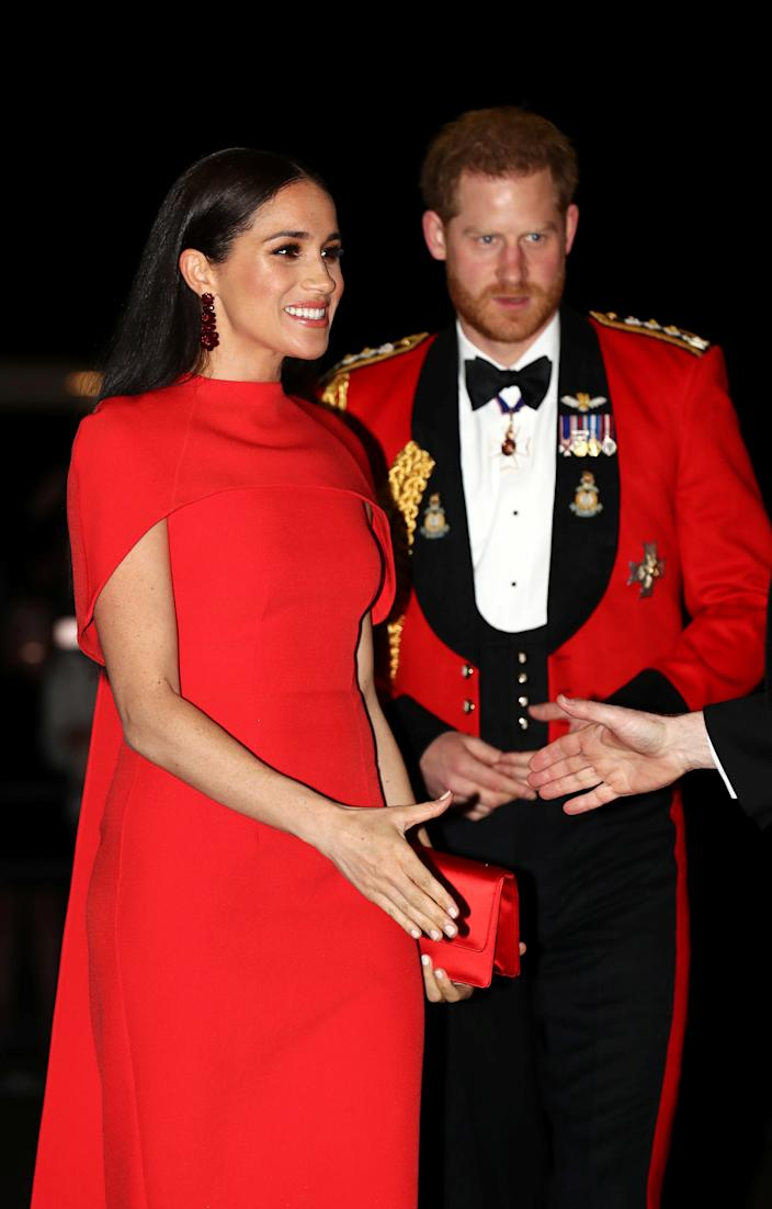 Britain's Prince Harry and his wife Meghan, arrive to attend the Mountbatten Festival of Music at the Royal Albert Hall in London, Britain March 7, 2020. REUTERS/Simon Dawson/Pool
