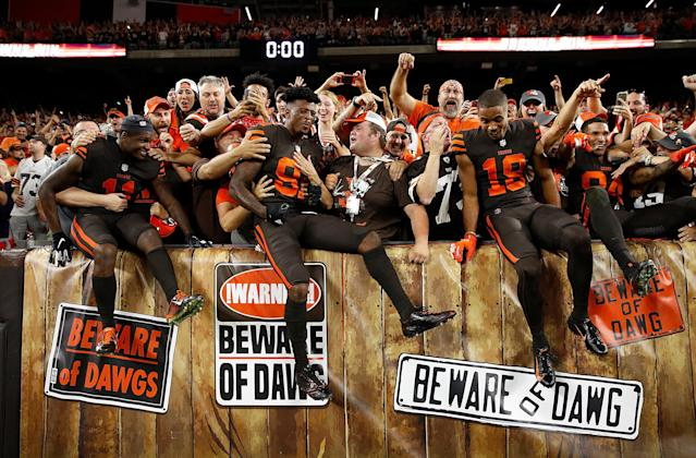 Winning football is back in Cleveland – at least for two games. Also on the upswing: NFL TV ratings. (Getty Images)