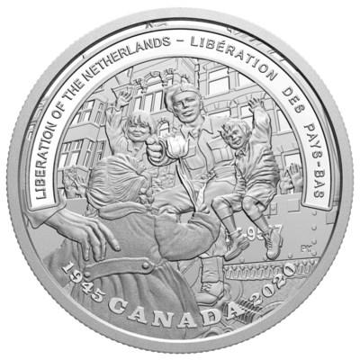 The Royal Canadian Mint's fine silver collector coin celebrating the 75th anniversary of the Liberation of the Netherlands (CNW Group/Royal Canadian Mint)