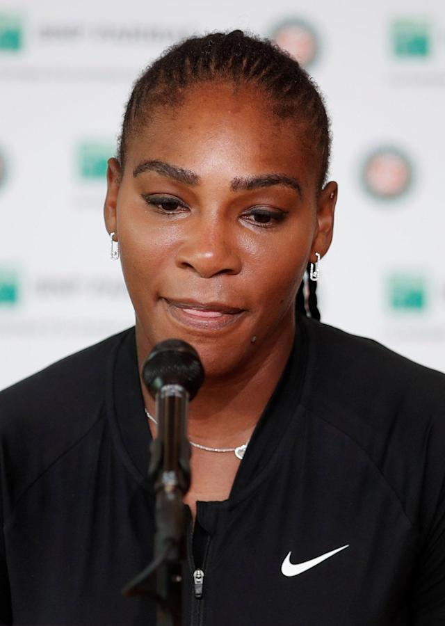 Tennis - French Open - Roland Garros, Paris, France - June 4, 2018 Serena Williams of the U.S during a press conference after withdrawing from the French Open REUTERS/Benoit Tessier