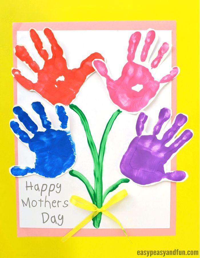 """<p>Little kids will love getting their hands messy to create something special for mom. Here, their handprints serve as blooms in a pretty Mother's Day bouquet. </p><p><strong>Get the tutorial at <a href=""""https://www.easypeasyandfun.com/mothers-day-handprint-art-flowers/"""" rel=""""nofollow noopener"""" target=""""_blank"""" data-ylk=""""slk:Easy Peasy and Fun"""" class=""""link rapid-noclick-resp"""">Easy Peasy and Fun</a>.</strong></p><p><a class=""""link rapid-noclick-resp"""" href=""""https://www.amazon.com/VATIN-inches-Double-Yellow-Polyester/dp/B07TP6WYZC?tag=syn-yahoo-20&ascsubtag=%5Bartid%7C2164.g.35668391%5Bsrc%7Cyahoo-us"""" rel=""""nofollow noopener"""" target=""""_blank"""" data-ylk=""""slk:SHOP YELLOW RIBBON"""">SHOP YELLOW RIBBON</a></p>"""