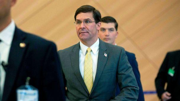PHOTO: Defense Secretary Mark Esper arrives for a bilateral meeting with Turkish Defense Minister Hulusi Akar on the sidelines of a NATO Defence ministers meeting at the NATO headquarters in Brussels, Oct. 25, 2019. (Virginia Mayo/AFP/Getty Images)