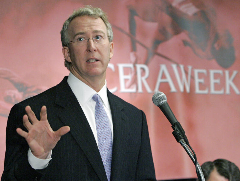Aubrey K. McClendon, chairman and CEO of Chesapeake Energy Corp., speaks at CERAWeek 2005 in Houston, Texas Tuesday, February 16, 2005. Photographer: Craig Hartley/Bloomberg News