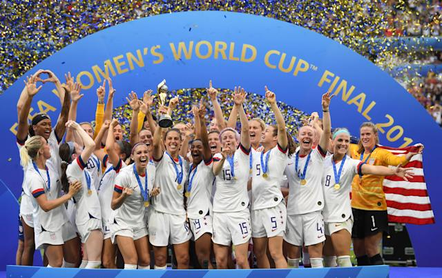 The USWNT celebrates winning the 2019 Women's World Cup. (Photo by Sebastian Gollnow/picture alliance via Getty Images)
