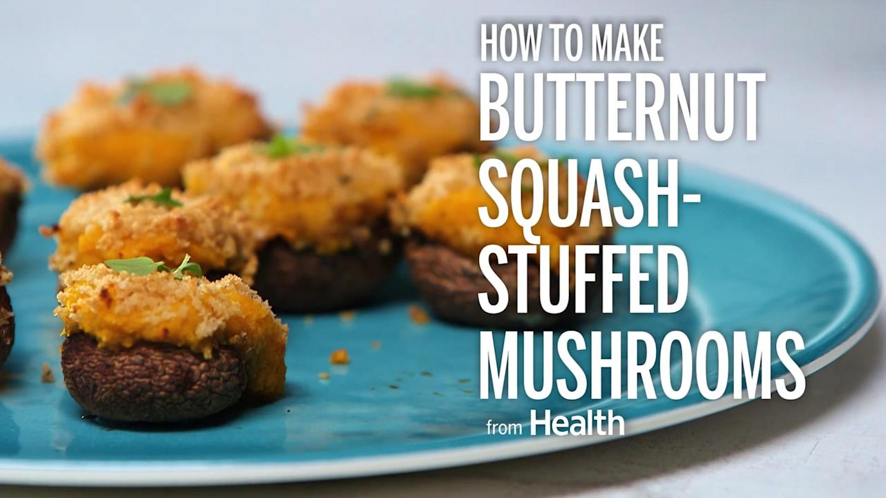 Stuffing mushrooms with butternut squash makes them a perfect fall snack. Watch this video to see how to make them.