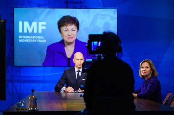 Kristalina Georgieva, Managing Director of the IMF speaks to Patrick Verkooijen, CEO of Global Center on Adaptation and Cora van Niewenhuizen, Dutch Minister for Infrastructure and Water during the Climate Adaptation Summit 2021