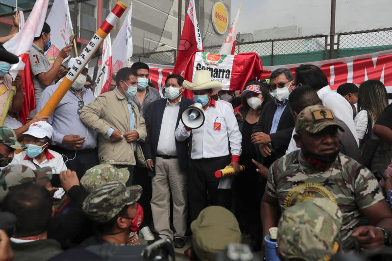 Candidate for presidency of Peru Castillo presents his government plan, in Lima