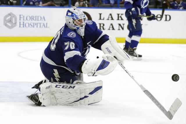 Tampa Bay Lightning goaltender Louis Domingue (70) makes a stick save on a shot by the Carolina Hurricanes during the third period of an NHL hockey game Tuesday, Oct. 16, 2018, in Tampa, Fla. The Lightning won the game 4-2. (AP Photo/Chris O'Meara)