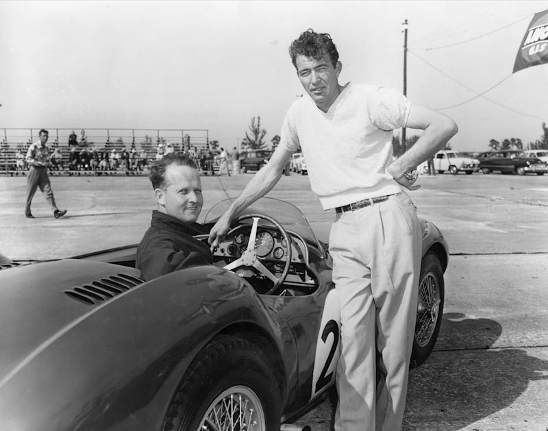 Charles Wallace (at the wheel) and Carroll Shelby entered an Aston Martin in the Grand Prix in 1954.