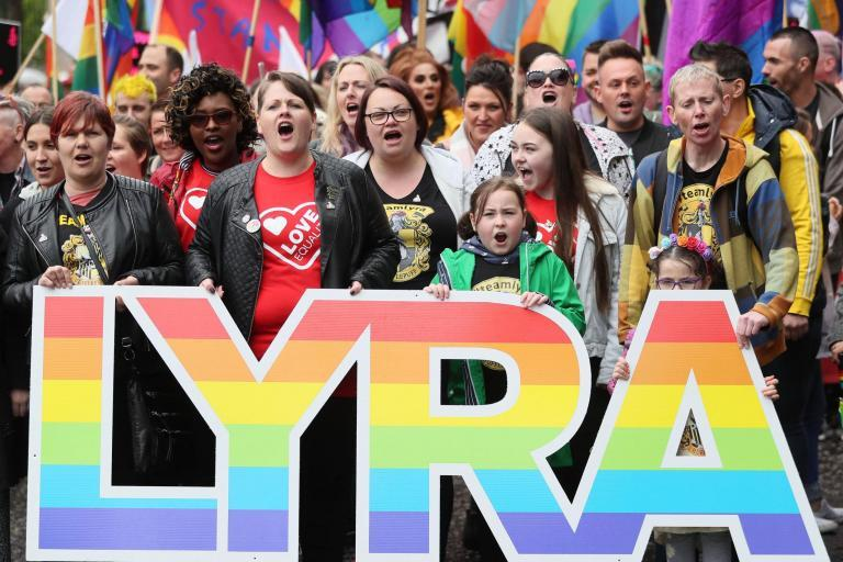 Lyra McKee's partner joins thousands in rally to demand equal marriage rights in Northern Ireland